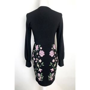 ASOS Dresses - ASOS Faux Wrap Dress Black Floral Long Sleeve